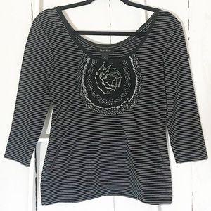WHBM Black white silver stripe 3/4 sleeve knit top